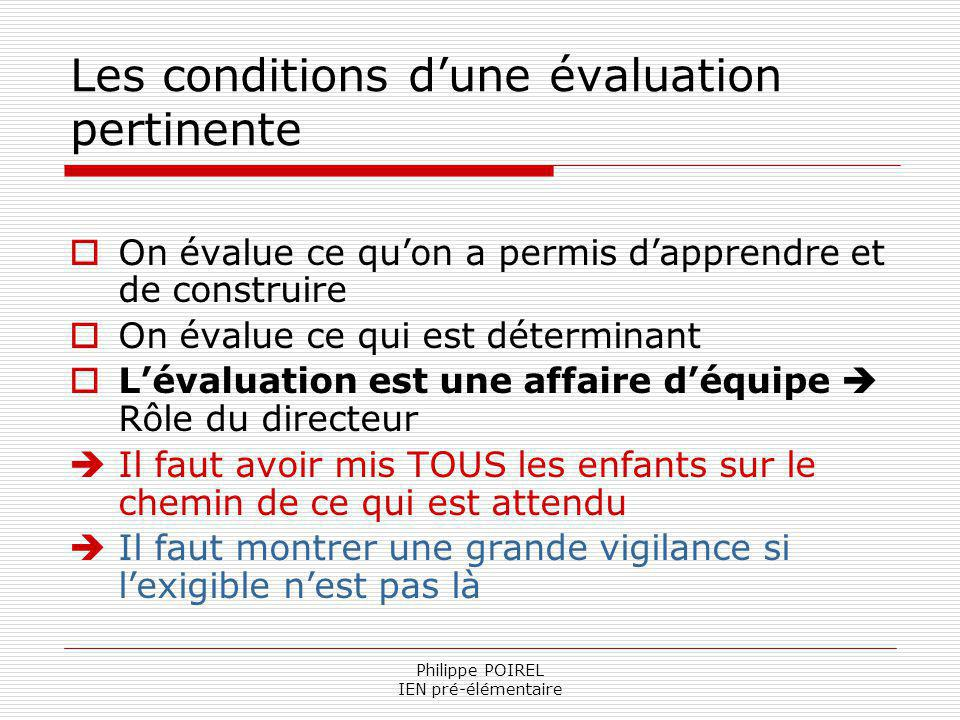 Les conditions d'une évaluation pertinente