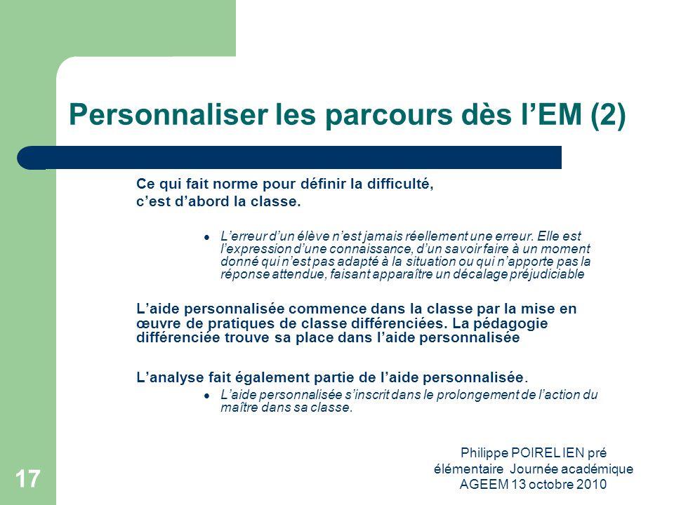 Personnaliser les parcours dès l'EM (2)