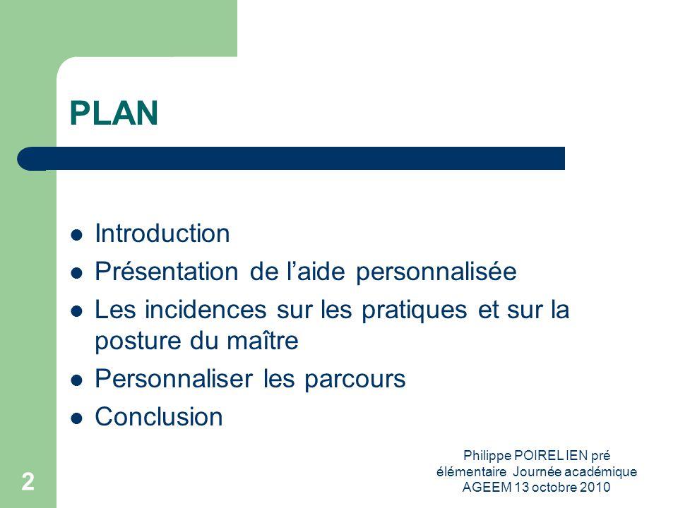 PLAN Introduction Présentation de l'aide personnalisée
