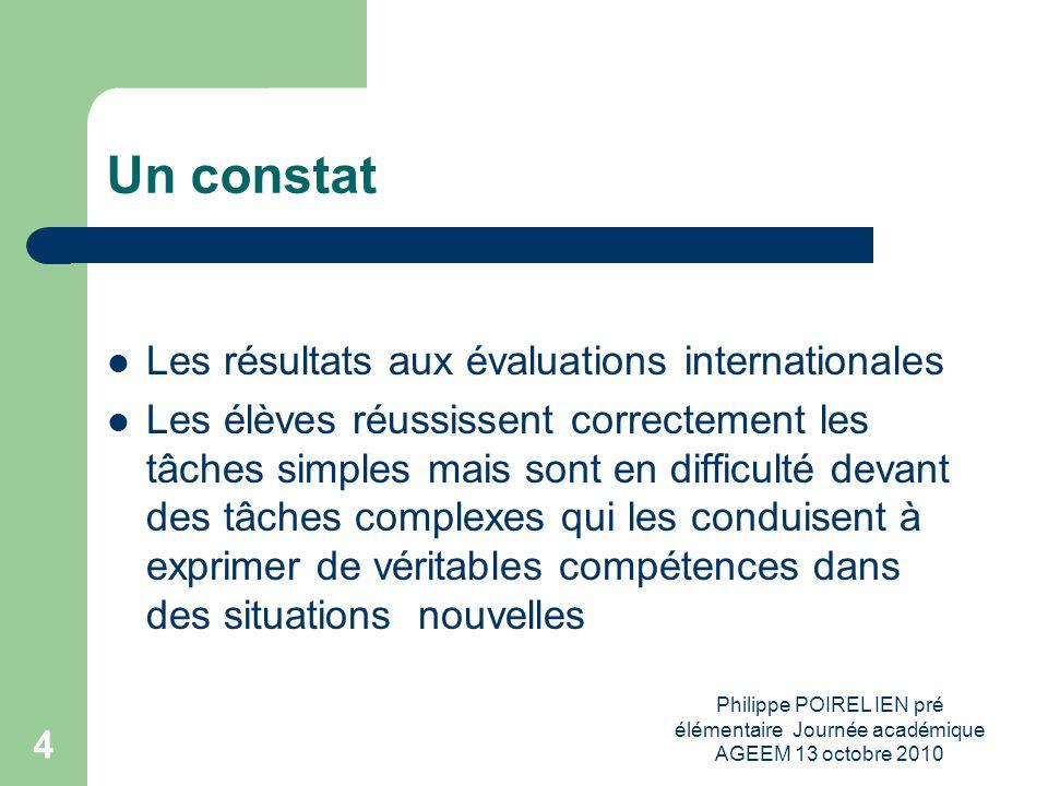 Un constat Les résultats aux évaluations internationales