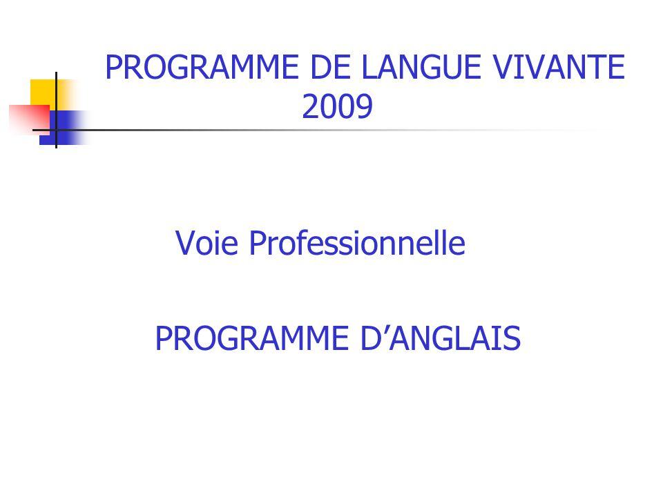 PROGRAMME DE LANGUE VIVANTE 2009