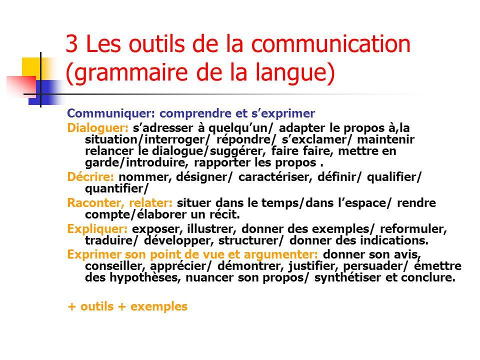 3 Les outils de la communication (grammaire de la langue)