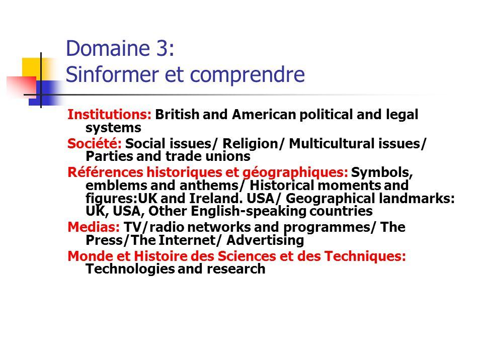 Domaine 3: Sinformer et comprendre