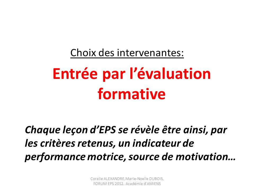 Choix des intervenantes: Entrée par l'évaluation formative