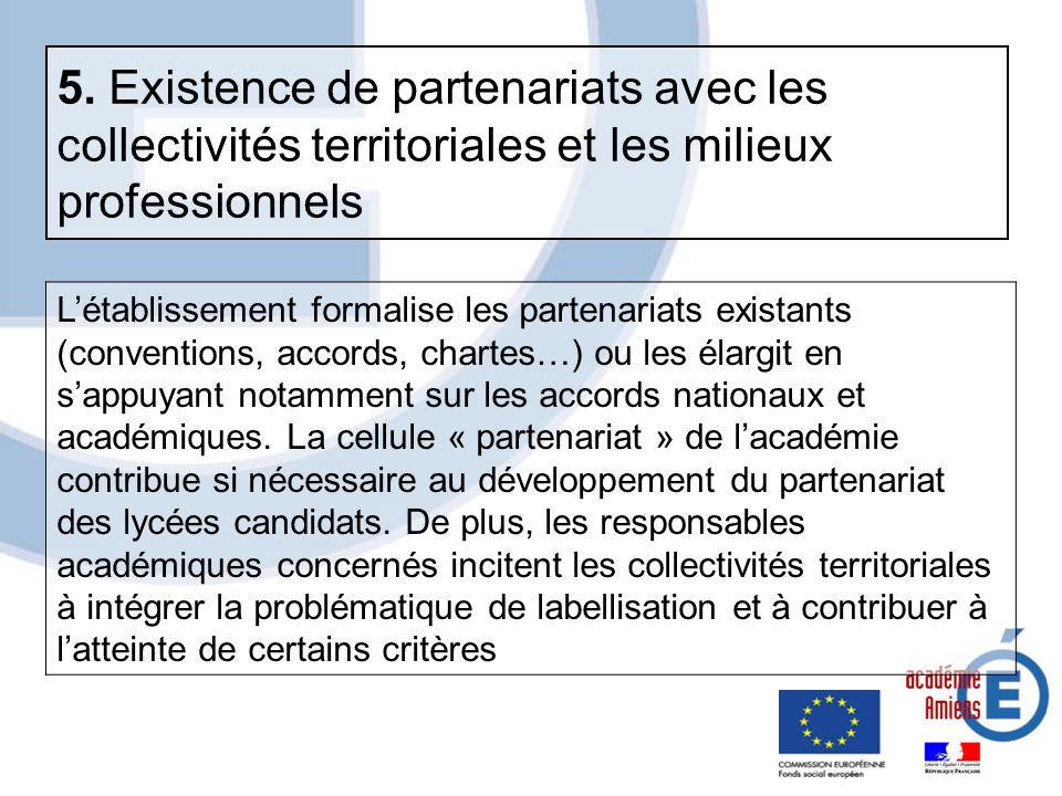 5. Existence de partenariats avec les collectivités territoriales et les milieux professionnels