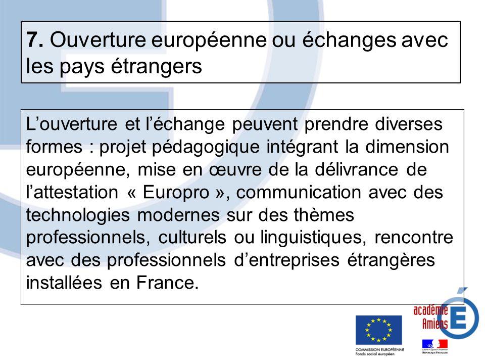 7. Ouverture européenne ou échanges avec les pays étrangers