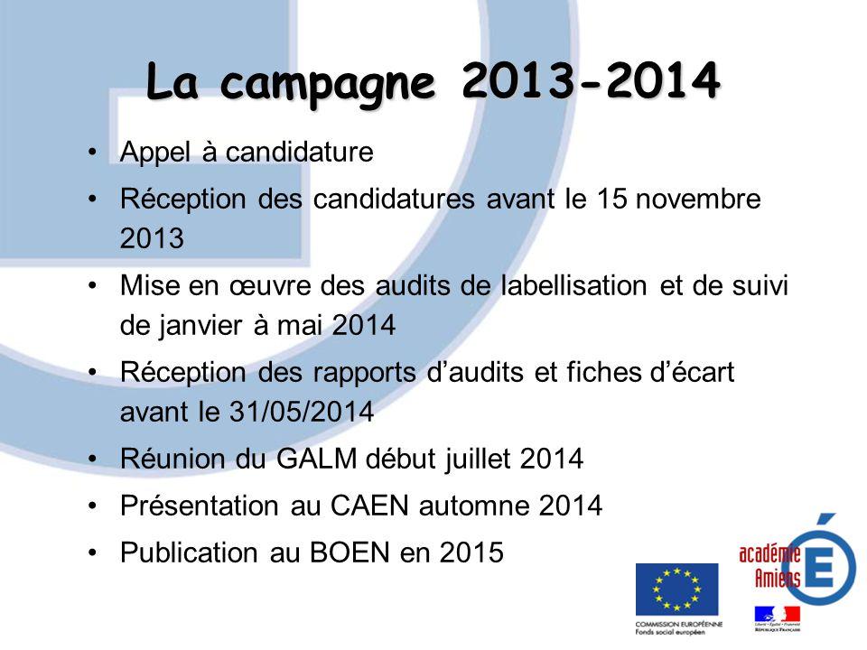 La campagne 2013-2014 Appel à candidature