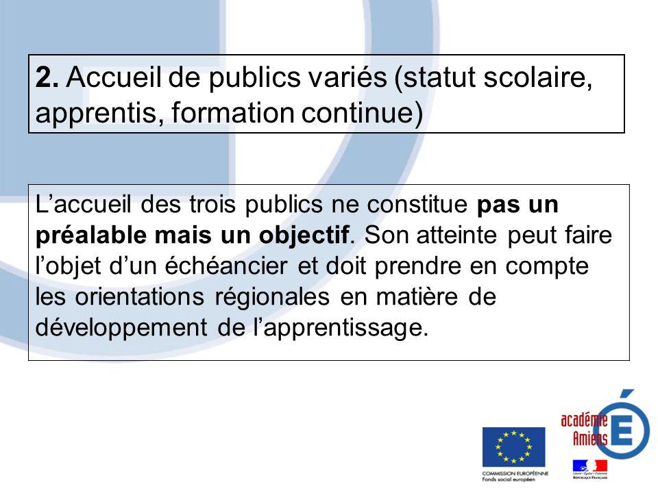 2. Accueil de publics variés (statut scolaire, apprentis, formation continue)