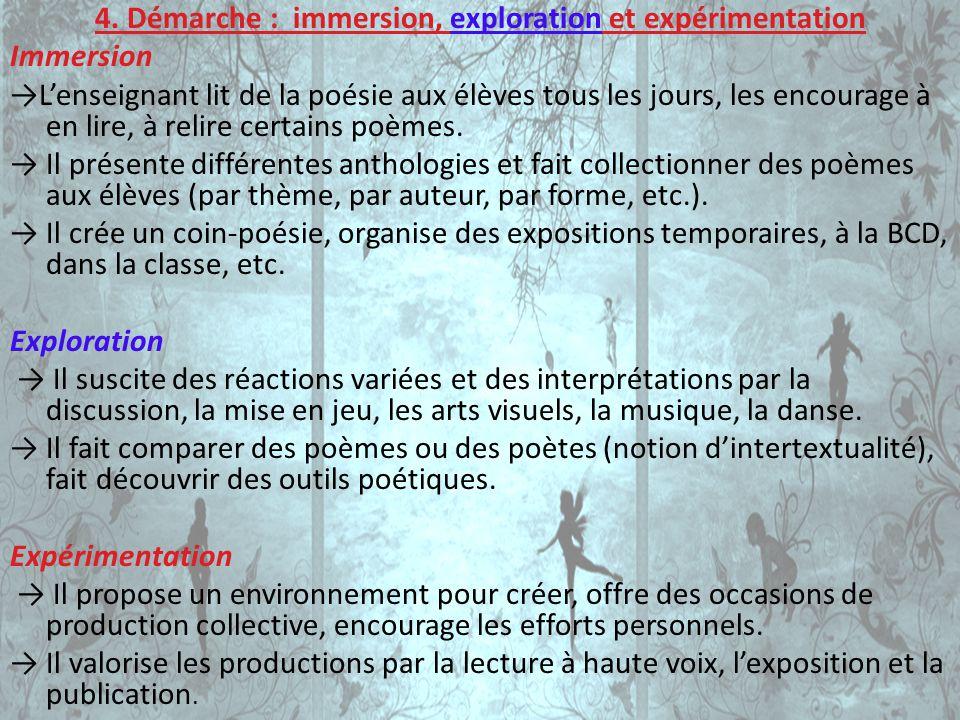 4. Démarche : immersion, exploration et expérimentation