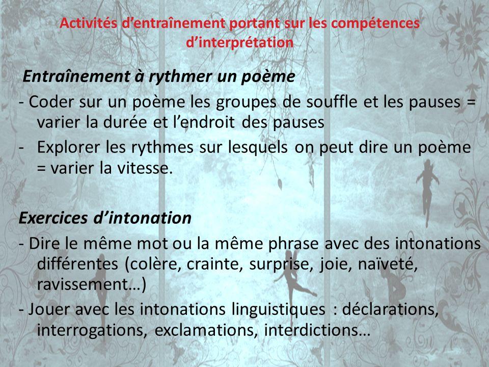 Activités d'entraînement portant sur les compétences d'interprétation