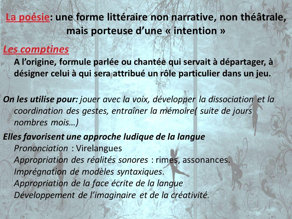 La poésie: une forme littéraire non narrative, non théâtrale, mais porteuse d'une « intention »