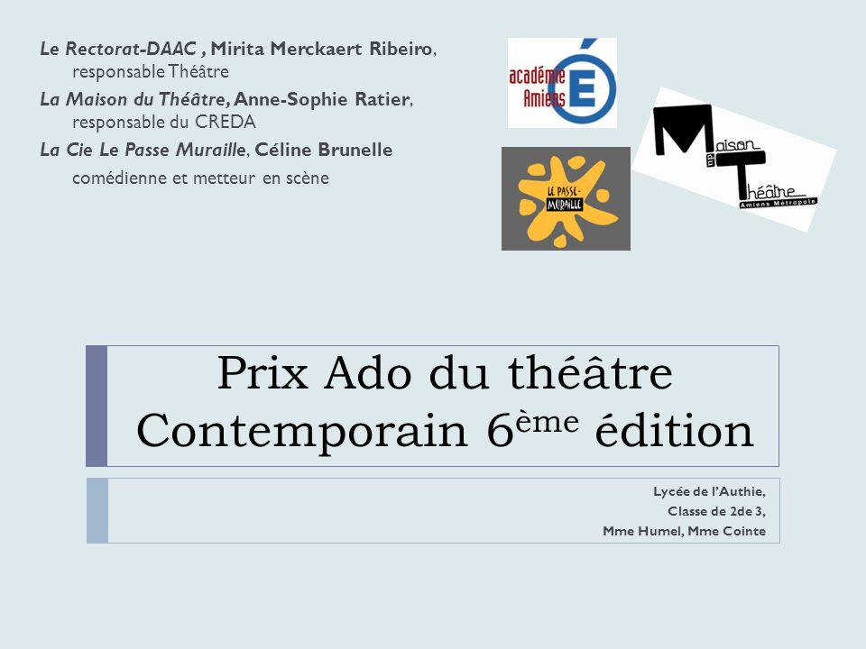 Prix Ado du théâtre Contemporain 6ème édition