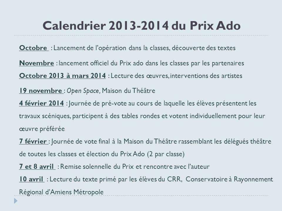 Calendrier 2013-2014 du Prix Ado
