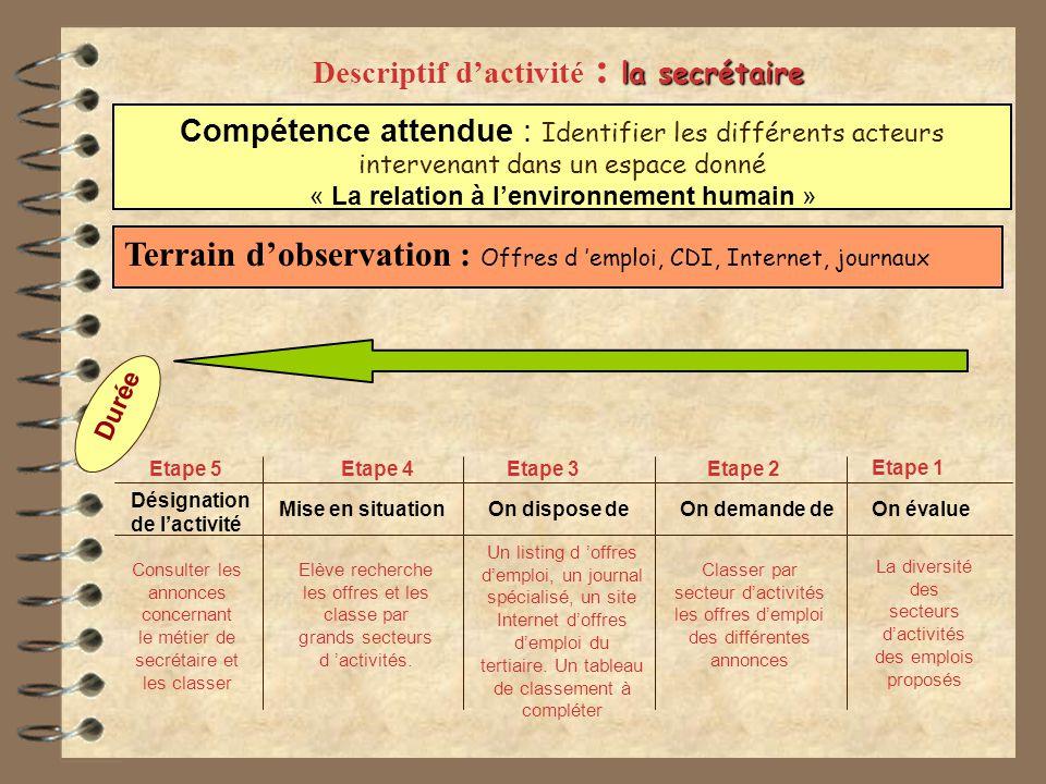 Descriptif d'activité : la secrétaire