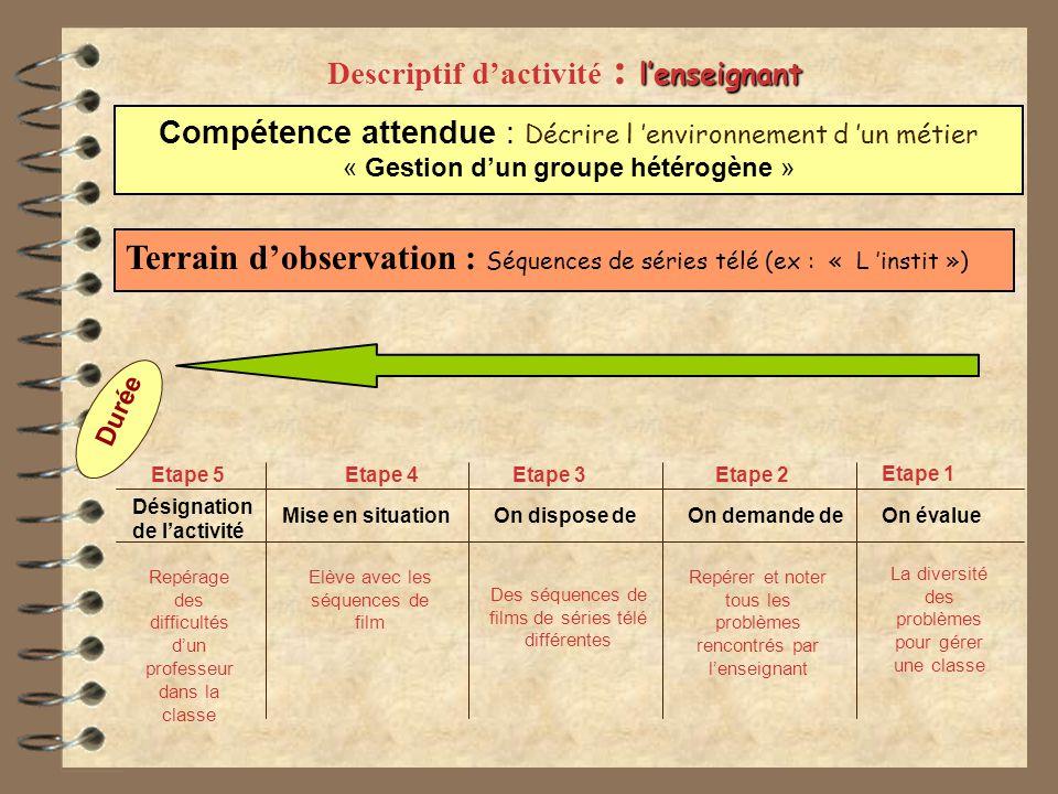 Descriptif d'activité : l'enseignant