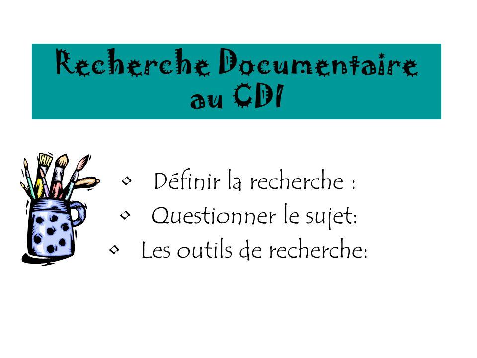 Recherche Documentaire au CDI