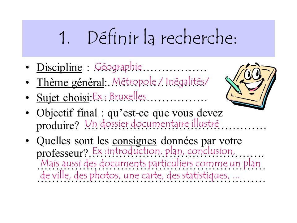 Définir la recherche: Discipline : ………………………… Thème général:……………………..