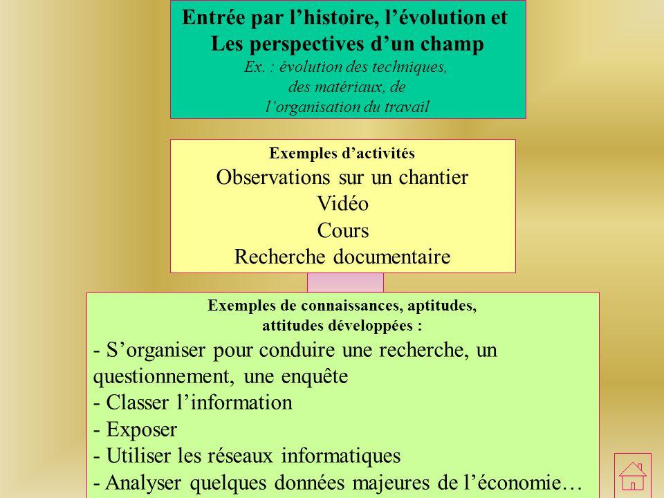 Entrée par l'histoire, l'évolution et Les perspectives d'un champ