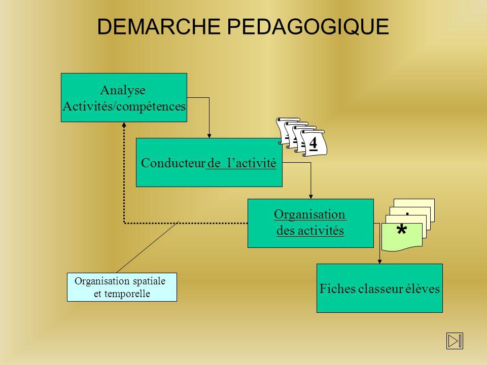* DEMARCHE PEDAGOGIQUE 1 2 3 4 a b c Analyse Activités/compétences