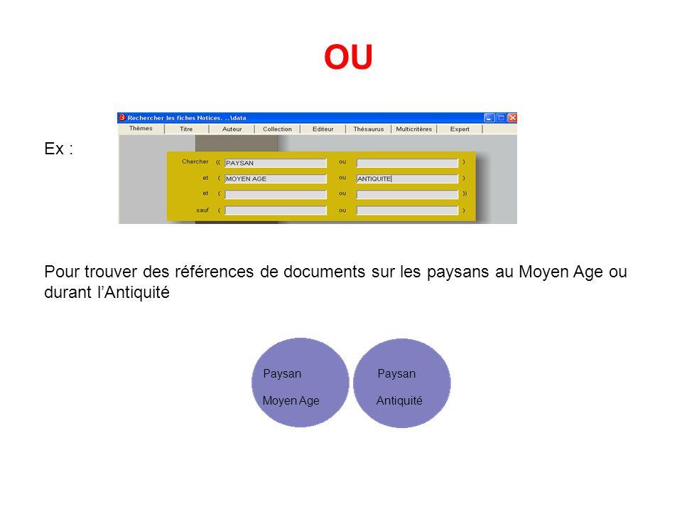 OU Ex : Pour trouver des références de documents sur les paysans au Moyen Age ou durant l'Antiquité.