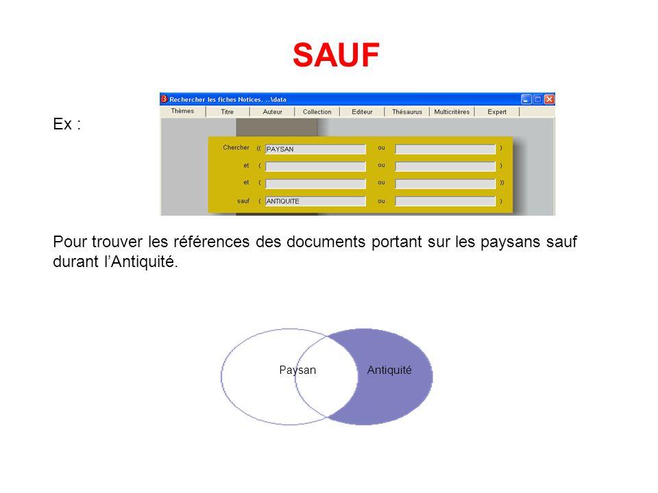 SAUF Ex : Pour trouver les références des documents portant sur les paysans sauf durant l'Antiquité.