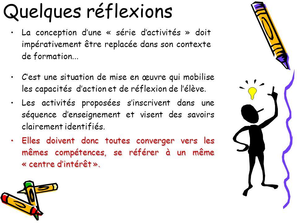 Quelques réflexions La conception d'une « série d'activités » doit impérativement être replacée dans son contexte de formation...