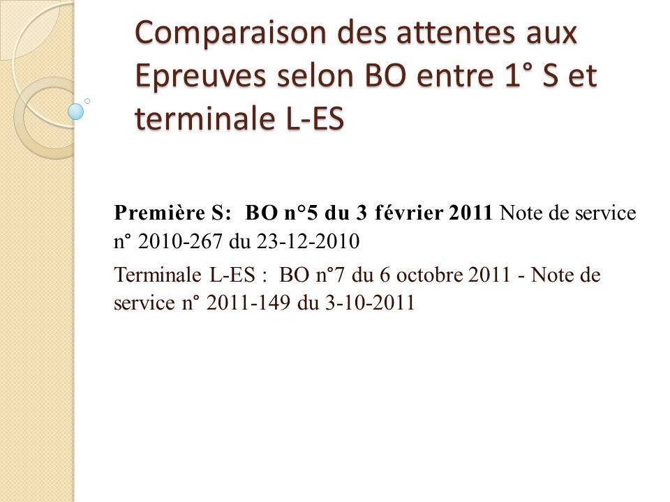 Comparaison des attentes aux Epreuves selon BO entre 1° S et terminale L-ES