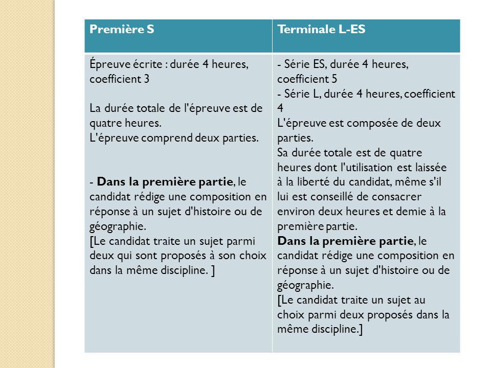 Première S Terminale L-ES. Épreuve écrite : durée 4 heures, coefficient 3. La durée totale de l épreuve est de quatre heures.
