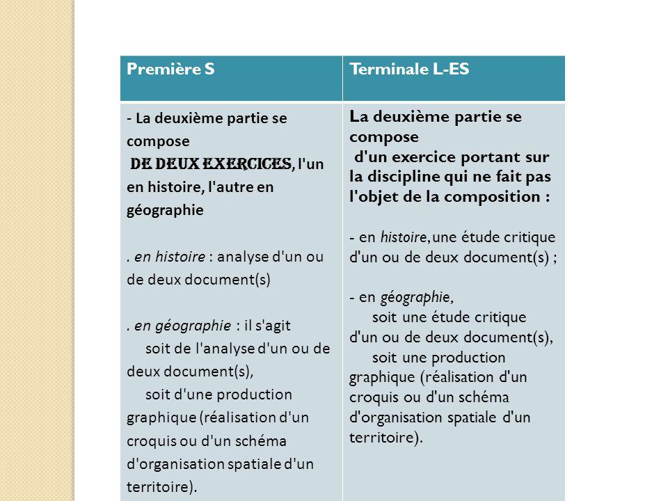 Première S Terminale L-ES. - La deuxième partie se compose. de deux exercices, l un en histoire, l autre en géographie.