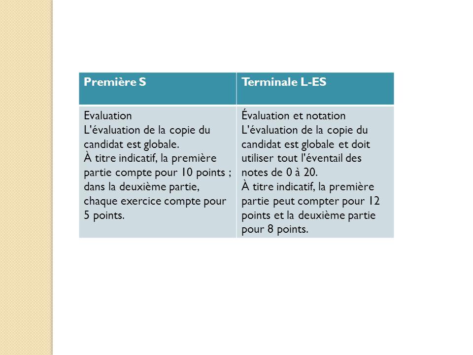 Première S Terminale L-ES. Evaluation. L évaluation de la copie du candidat est globale.