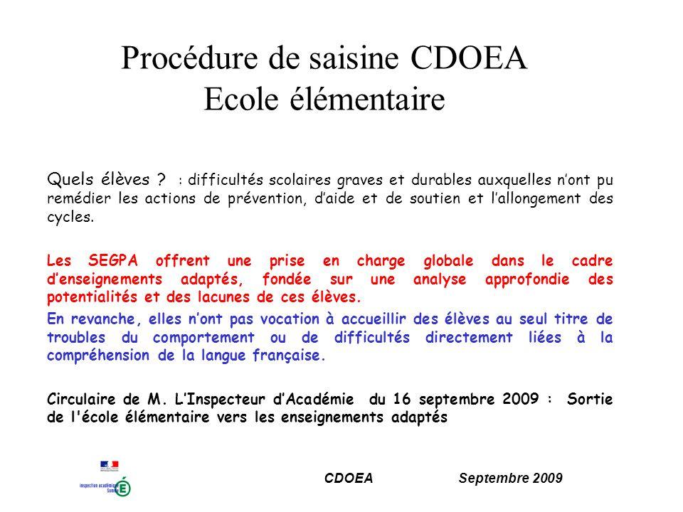 Procédure de saisine CDOEA Ecole élémentaire