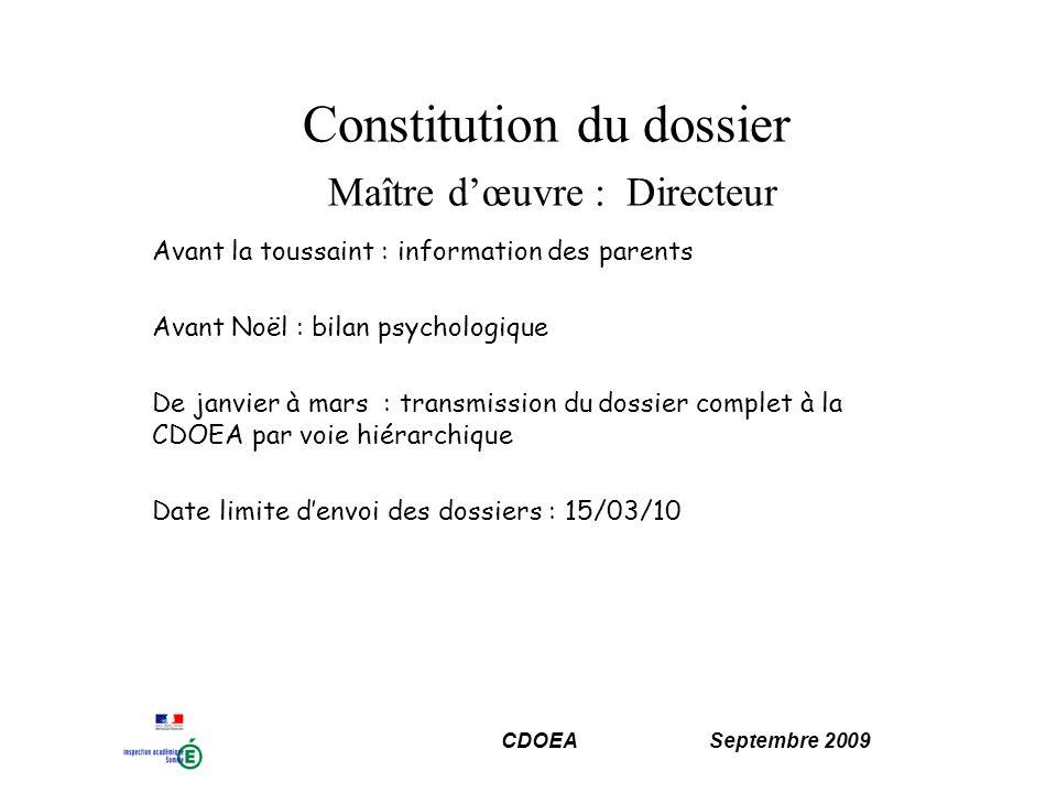 Constitution du dossier Maître d'œuvre : Directeur