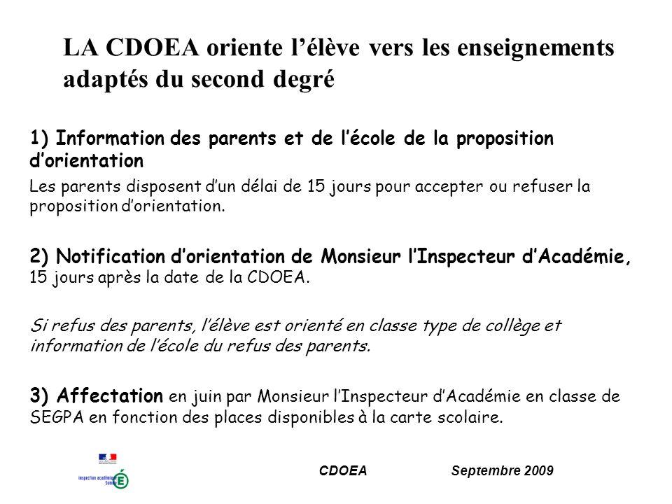 LA CDOEA oriente l'élève vers les enseignements adaptés du second degré