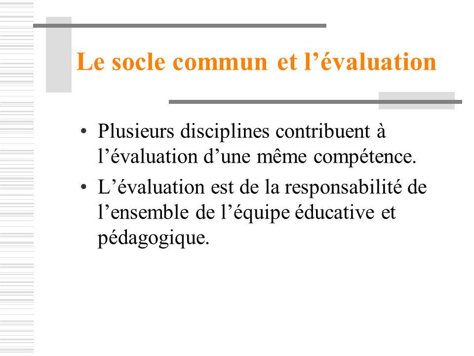 Le socle commun et l'évaluation