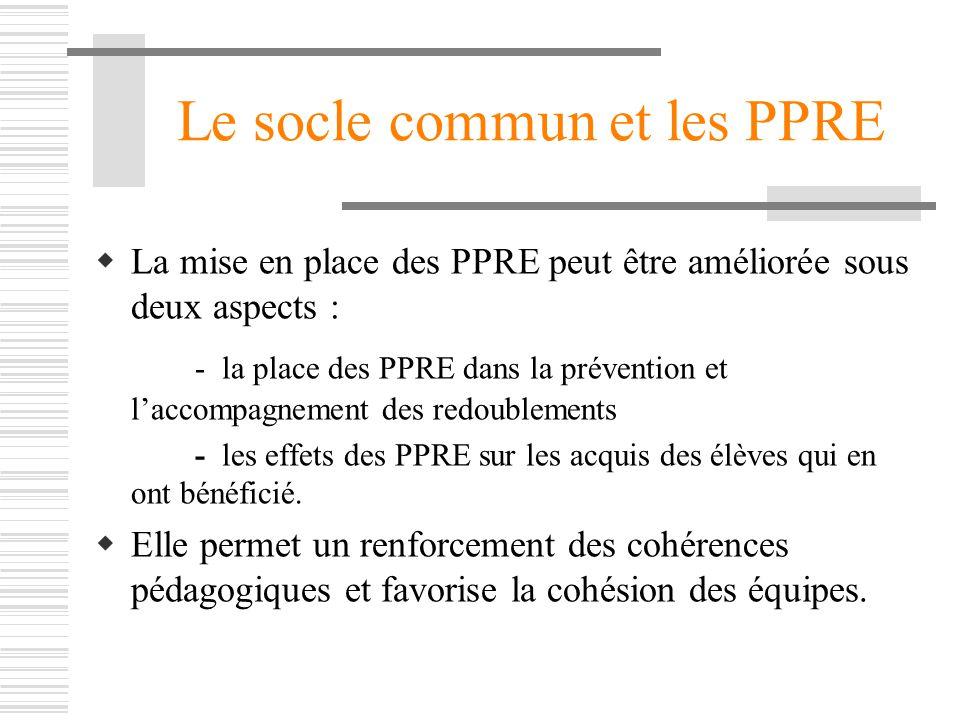 Le socle commun et les PPRE