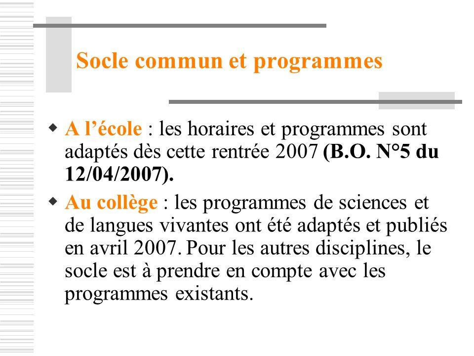 Socle commun et programmes