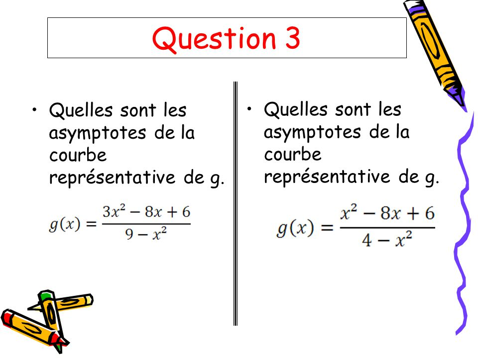 Question 3 Quelles sont les asymptotes de la courbe représentative de g.