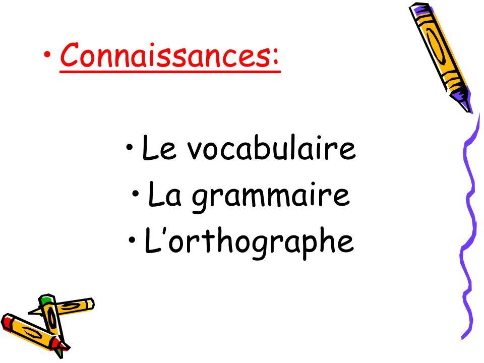 Connaissances: Le vocabulaire La grammaire L'orthographe