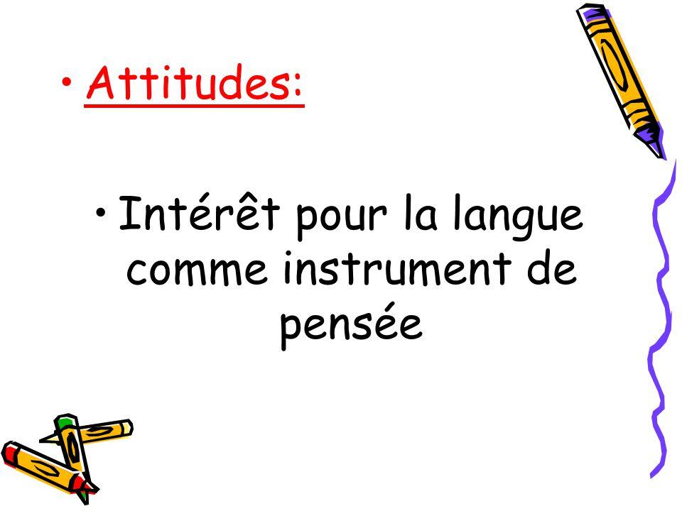 Intérêt pour la langue comme instrument de pensée