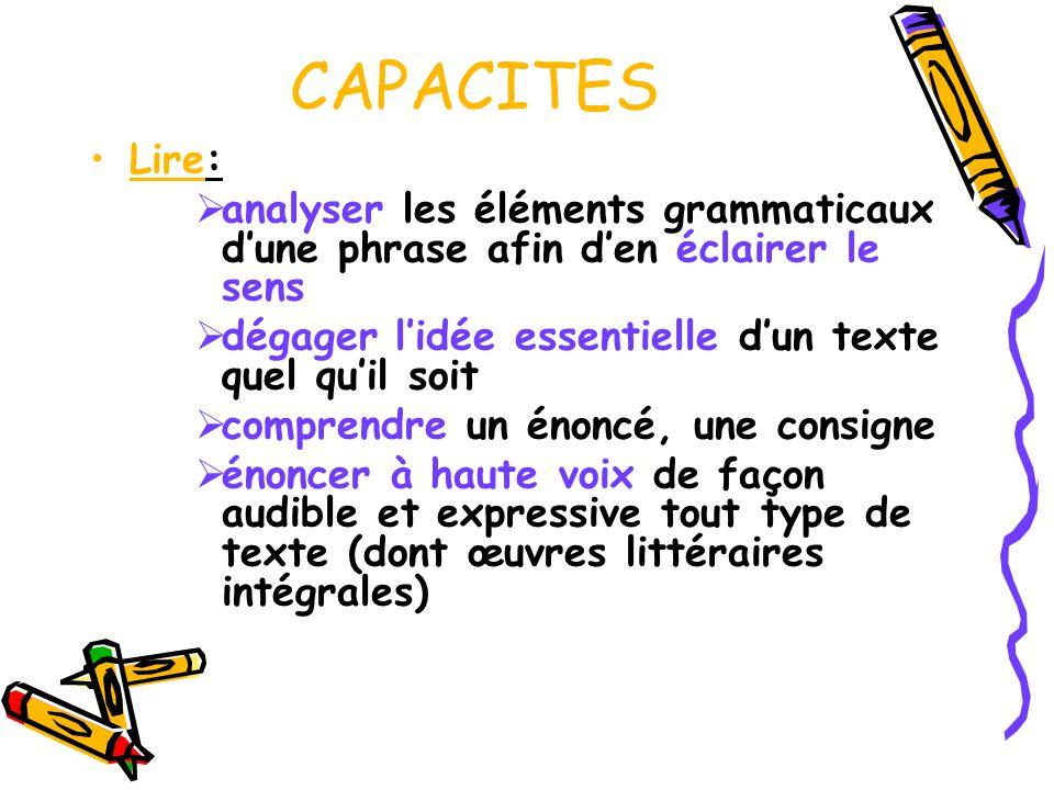CAPACITES Lire: analyser les éléments grammaticaux d'une phrase afin d'en éclairer le sens. dégager l'idée essentielle d'un texte quel qu'il soit.