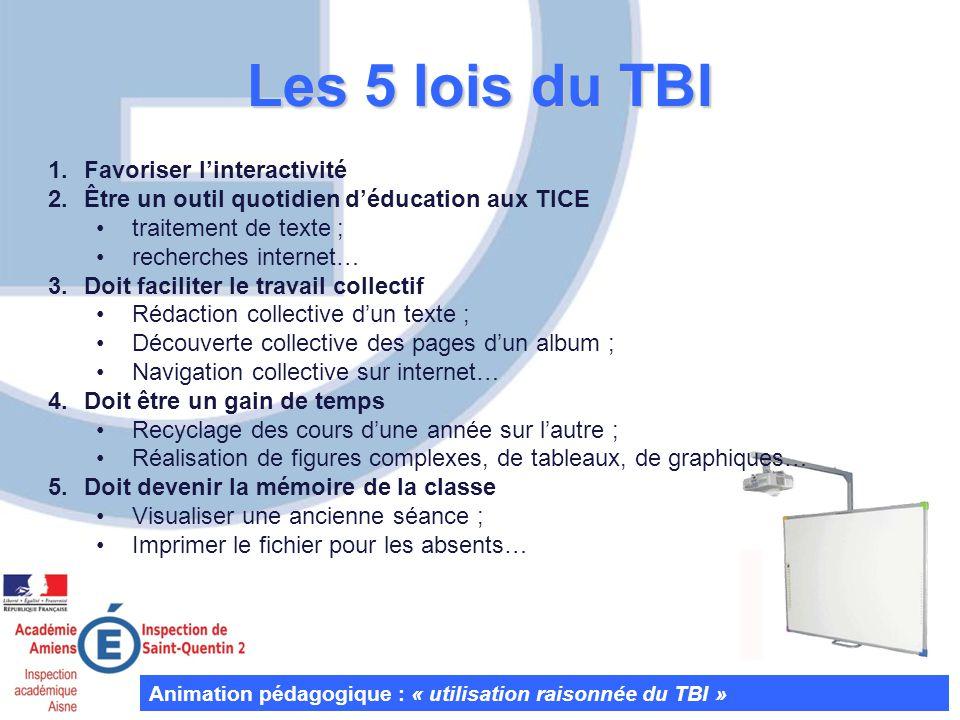 Les 5 lois du TBI Favoriser l'interactivité