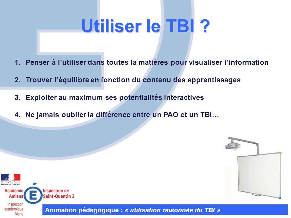 Utiliser le TBI Penser à l'utiliser dans toutes la matières pour visualiser l'information.