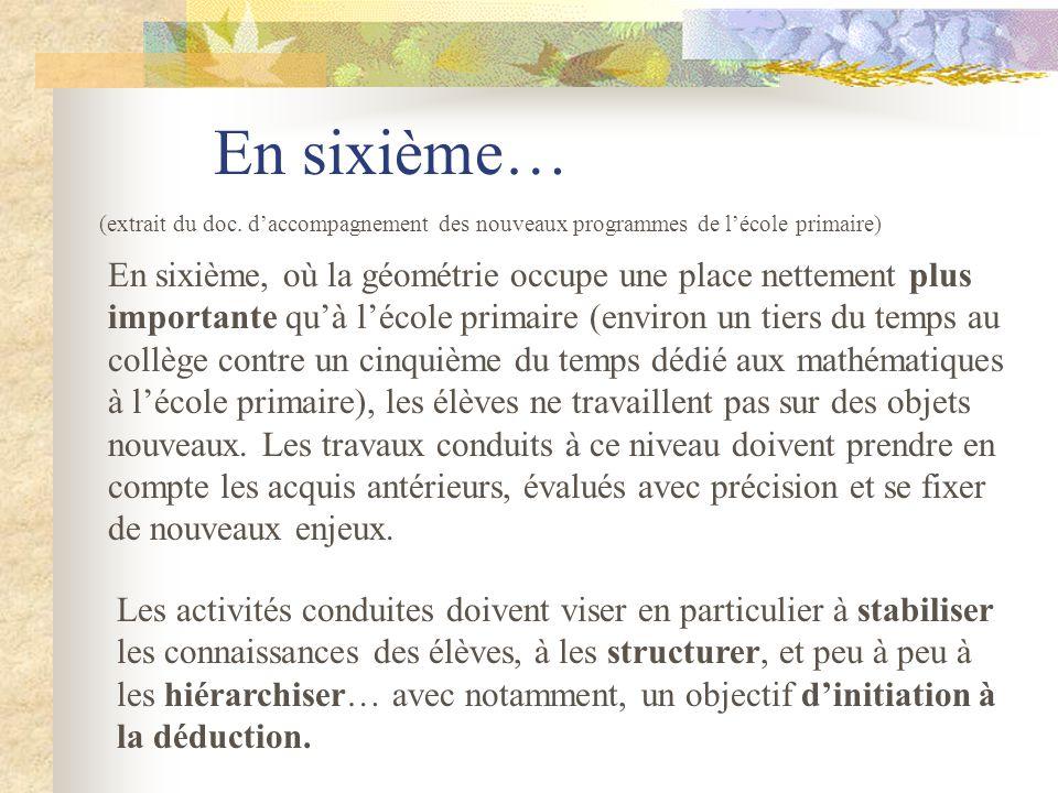 En sixième… (extrait du doc. d'accompagnement des nouveaux programmes de l'école primaire)