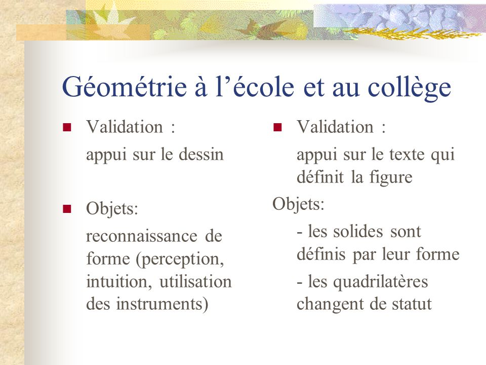 Géométrie à l'école et au collège