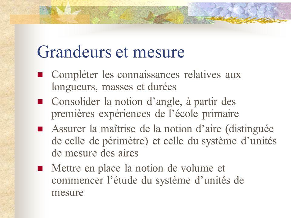 Grandeurs et mesure Compléter les connaissances relatives aux longueurs, masses et durées.
