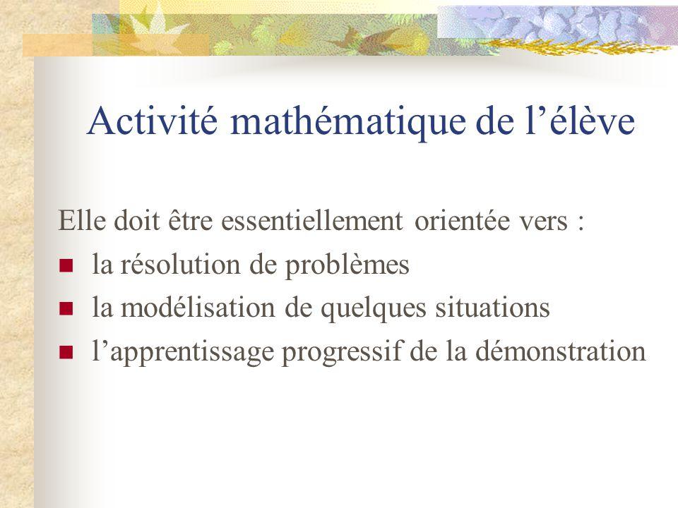 Activité mathématique de l'élève
