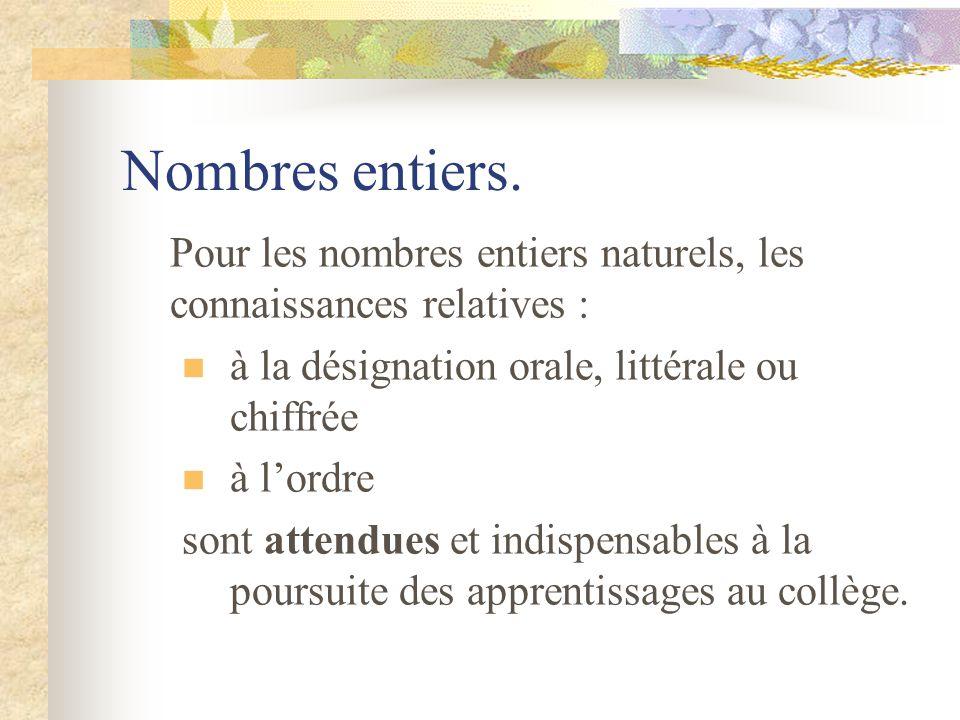 Nombres entiers. Pour les nombres entiers naturels, les connaissances relatives : à la désignation orale, littérale ou chiffrée.