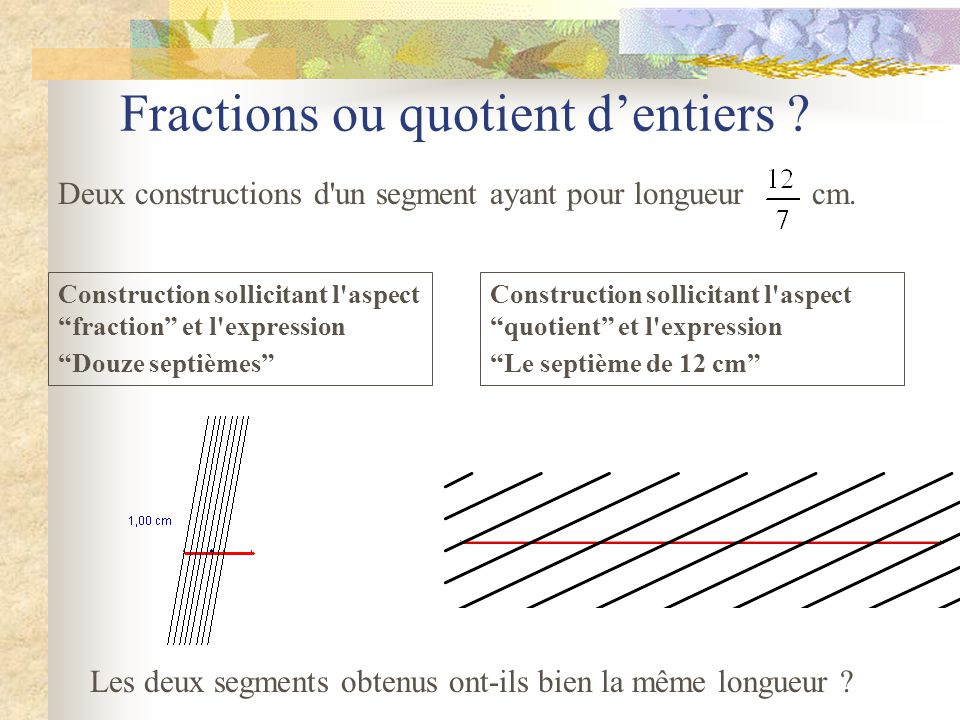 Fractions ou quotient d'entiers