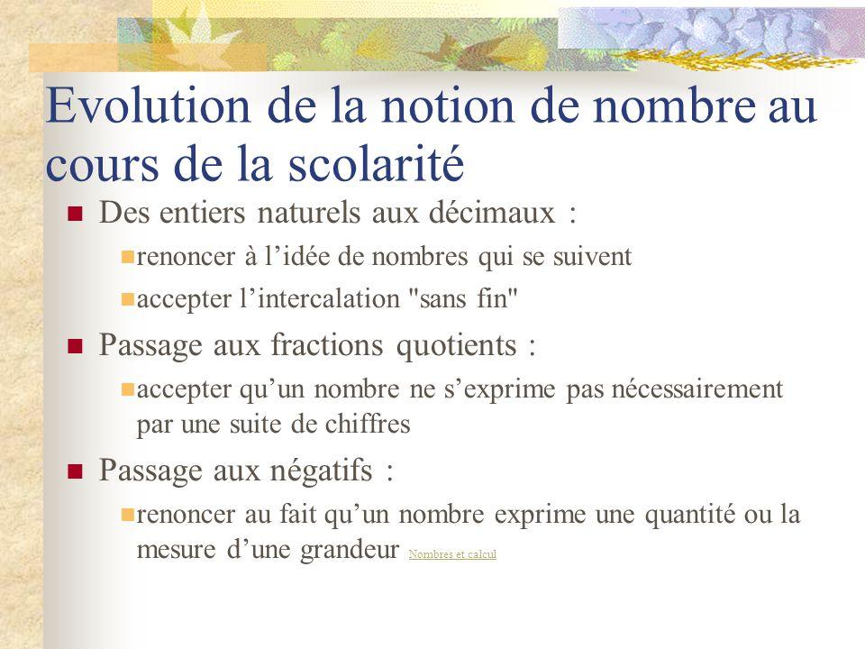 Evolution de la notion de nombre au cours de la scolarité
