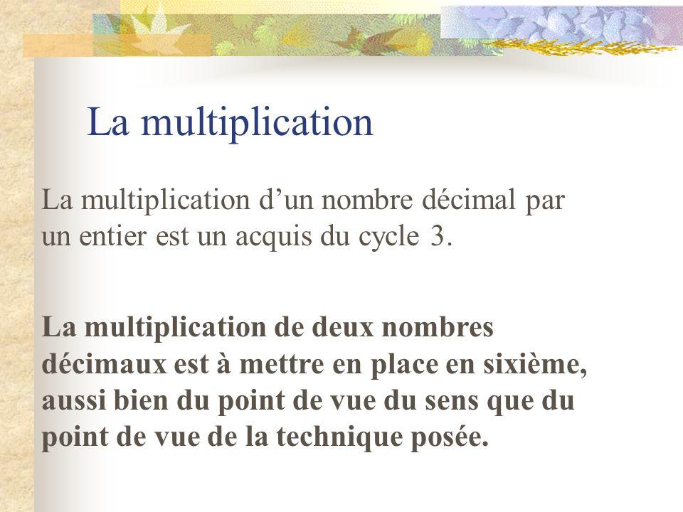 La multiplication La multiplication d'un nombre décimal par un entier est un acquis du cycle 3.